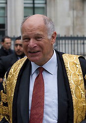© Licensed to London News Pictures. 01/10/2013. London, UK. Lord Neuberger, President of the Supreme Court, leads a procession, consisting of 11 of the Supreme Court Justices, make their way from the Supreme Court to an annual service marking the opening of the Legal Year held at Westminster Abbey in London today (01/10/2013). Photo credit: Matt Cetti-Roberts/LNP