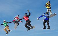 Snowboard<br /> FIS World Cup<br /> Sierra Nevada Spania<br /> 21.03.2013<br /> Foto: Gepa/Digitalsport<br /> NORWAY ONLY<br /> <br /> FIS Weltcup Finale, Boarder Cross, Snowboardcross der Herren. Bild zeigt Stian Sivertzen (NOR), Maciej Jodko (POL), Alessandro Haemmerle (AUT), Lluis Marin Tarroch (AND) und Rok Rogelj (SLO).