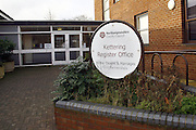 Photograph of the entrance to Kettering Register Office in Northamptonshire. Situated next to the Magistrates court on London Road