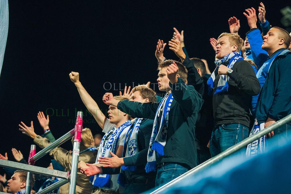 Suomen maajoukkueen kannattajia MM2018-karsintaottelussa Suomi - Kosovo. Veritas stadion, Turku, Suomi. 5.9.2016.