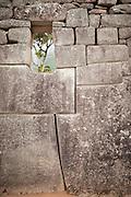 Example of the precision stone work in Machu Picchu, Cusco Region, Urubamba Province, Machupicchu District in Peru, South America