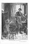 Silas Marner  George Eliot, 1861. Silas Marner defeated in his attempt to discipline Eppie (aged 3) by shutting her in the coal hole. After this episode, she is brought up without punishment. Illustration by Mary L Gow (1851-1929) published 1882.