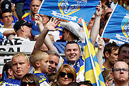 Warrington fans during the Challenge Cup Final 2016 match between Warrington Wolves and Hull FC at Wembley Stadium, London, England on 27 August 2016. Photo by Craig Galloway.