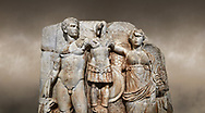 Close up of Roman Sebasteion relief sculpture of emperor Augustus and Goddess Victory, Aphrodisias Museum, Aphrodisias, Turkey.  Against an art background.<br /> <br /> The naked emperor Augustus stands in majesty with the winged goddess Victory(Nike). He carried a spear and has an eagle, the bird representing Zeus, at his feet. Victory is crowning a military trophy - a rough post with enemy armour attached to it. Beneath the trophy is a barbarian captive, his hands tied behind his back. .<br /> <br /> If you prefer to buy from our ALAMY STOCK LIBRARY page at https://www.alamy.com/portfolio/paul-williams-funkystock/greco-roman-sculptures.html . Type -    Aphrodisias     - into LOWER SEARCH WITHIN GALLERY box - Refine search by adding a subject, place, background colour, museum etc.<br /> <br /> Visit our ROMAN WORLD PHOTO COLLECTIONS for more photos to download or buy as wall art prints https://funkystock.photoshelter.com/gallery-collection/The-Romans-Art-Artefacts-Antiquities-Historic-Sites-Pictures-Images/C0000r2uLJJo9_s0
