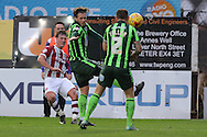 Dannie Bulman of AFC Wimbledon evades a ball in the face during the Sky Bet League 2 match between Exeter City and AFC Wimbledon at St James' Park, Exeter, England on 28 December 2015. Photo by Stuart Butcher.