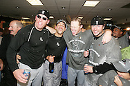 HOUSTON - OCTOBER 26:  The White Sox celebrate after winning Game 4 of the 2005 World Series against the Houston Astros at Minute Maid Park on October 26, 2005 in Chicago, Illinois.  The White Sox defeated the Astros 1-0.