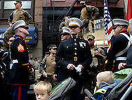 United States Marines gather for the annual Veteran's Day parade in New York, New York, USA, 11 November 2014.  Veterans Day, coinciding with Armistice Day and Remembrance Day in other countries, honors those who have served in the US Armed Forces.