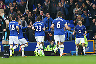 Morgan Schneiderlin of Everton (r) celebrates with his teammates after scoring his teams 2nd goal. Premier league match, Everton v West Bromwich Albion at Goodison Park in Liverpool, Merseyside on Saturday 11th March 2017.<br /> pic by Chris Stading, Andrew Orchard sports photography.