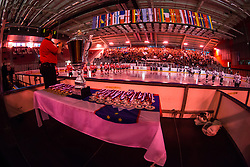 Opening ceremony during ice hockey match between HDD SIJ Acroni Jesenice and HDD Telemach Olimpija in 4th leg of Finals of Slovenian National Championship 2014/2015, on April 15, 2015 in Podmezakla, Jesenice, Slovenia. Photo by Grega Valancic / Sportida
