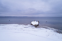Aerial view of a wooden shipwreck on the beach of Kasispea in Estonia.