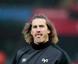 Ospreys' Jeff Hassler during the pre match warm up<br /> <br /> Photographer Simon King/Replay Images<br /> <br /> EPCR Champions Cup Round 4 - Ospreys v Northampton Saints - Sunday 17th December 2017 - Parc y Scarlets - Llanelli<br /> <br /> World Copyright © 2017 Replay Images. All rights reserved. info@replayimages.co.uk - www.replayimages.co.uk