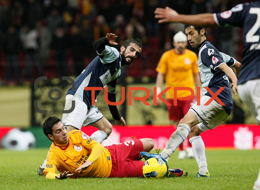 Galatasaray's Okan Derici (L) during their Turkey Cup matchday 3 soccer match Galatasaray between AdanaDemirspor at the Turk Telekom Arena at Aslantepe in Istanbul Turkey on Tuesday 10 January 2012. Photo by TURKPIX