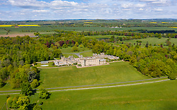 Aerial view of town of Floors Castle in Kelso in Scottish Borders, Scotland, UK