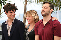 Actor Louis Garrel and Director Valéria Bruni Tedeschi and actor Filippo Timi at the 'Un Chateau En Italie' film photocall at the Cannes Film Festival  Tuesday 21 May 2013