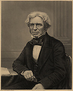 Michael Faraday (1791-1867) English chemist and physicist. In 1813 became laboratory assistant to Humphry Davy at the Royal Institution, London. In 1833 he succeeded Davy as professor of chemistry at the RI. From James Sheridan Muspratt 'Chemistry' (London