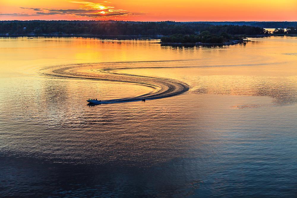 Sunset at Stockholm archipelago in Sweden.