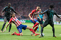 Atletico de Madrid's Filipe Luis and Yannick Carrasco and Chelsea's Victor Moses during UEFA Champions League match between Atletico de Madrid and Chelsea at Wanda Metropolitano in Madrid, Spain September 27, 2017. (ALTERPHOTOS/Borja B.Hojas)