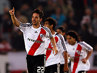 RIVER PLATE (2) Vs. SAN LORENZO de Almadro (2) for the soccer match in the Copa Libertadores at River Plate Stadium.<br /> SAN LORENZO move to next round after classification in a (4-3 aggregate)<br /> Buenos Aires, Argentina May 8, 2008.<br /> River Plate player MATIAS ABELAIRAS celebrating his goal.<br /> © Gabriel Piko / PikoPress