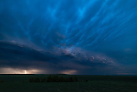 The mammatus looked impressive on the back of this storm after sunset.