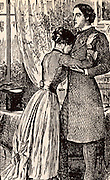 Morris Townsend the penniless adventurer who planned to marry the plain heiress Catherine Sloper for her fortune, remains coldly unresponsive to her embrace after he learns that if she marries him she will have only the money her mother has left her but none of her father's wealth.  Illustration for the serialisation of 'Washington Square' by Henry James in 'The Cornhill Magazine' (London, 1880).