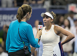 September 5, 2018 - Flushing Meadows, New York, U.S - Madison Keys is interviewed after winning her match against Carla Suarez Navarro on Day 10 of the 2018 US Open at USTA Billie Jean King National Tennis Center on Wednesday September 5, 2018 in the Flushing neighborhood of the Queens borough of New York City. Keys defeats Suarez Navarro, 6-4, 6-3. (Credit Image: © Prensa Internacional via ZUMA Wire)