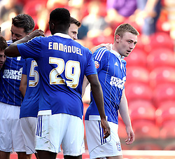 Ipswich Town's Freddie Sears is congratulated on his part for setting up Ipswich Town's Ryan Fraser's goal - Mandatory by-line: Robbie Stephenson/JMP - 07966386802 - 08/08/2015 - SPORT - FOOTBALL - Brentford,England - Griffin Park - Brentford v Ipswich Town - Sky-Bet Championship