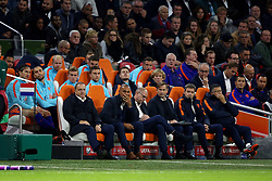 (l-r) coach Dick Advocaat of Holland, assistant trainer Ruud Gullit of Holland, assistant trainer Fred Grim of Holland during the FIFA World Cup 2018 qualifying match between The Netherlands and Sweden at the Amsterdam Arena on October 10, 2017 in Amsterdam, The Netherlands