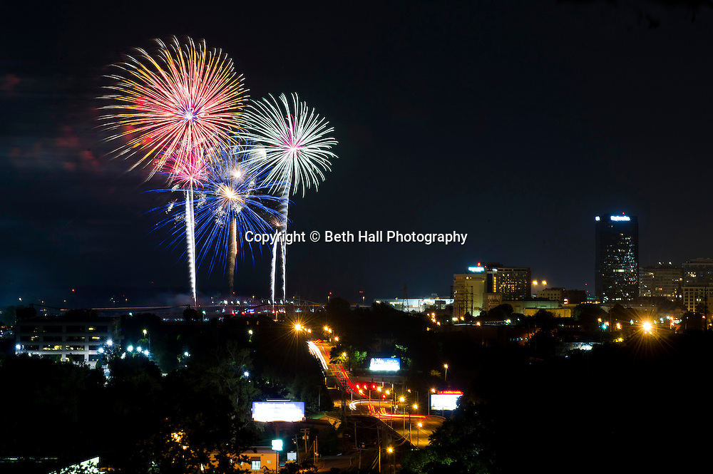 Fireworks explode over downtown Little Rock at the end of the Riverfest festivities in 2012.