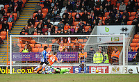 GOAL - Wigan Athletic's Kim Bo-Kyung scores his sides first goal  <br /> <br /> Photographer Kevin Barnes/CameraSport<br /> <br /> Football - The Football League Sky Bet Championship - Blackpool v Wigan Athletic - Saturday 28th February 2015 - Bloomfield Road - Blackpool<br /> <br /> © CameraSport - 43 Linden Ave. Countesthorpe. Leicester. England. LE8 5PG - Tel: +44 (0) 116 277 4147 - admin@camerasport.com - www.camerasport.com