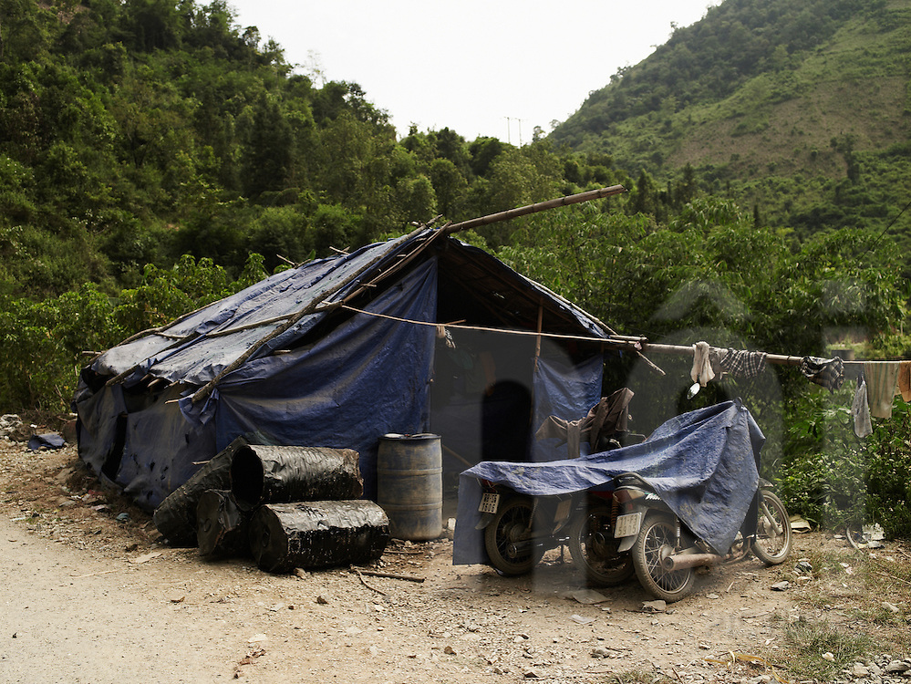 tarpaulin camp in a quarry. Ha Giang province, Vietnam, Asia