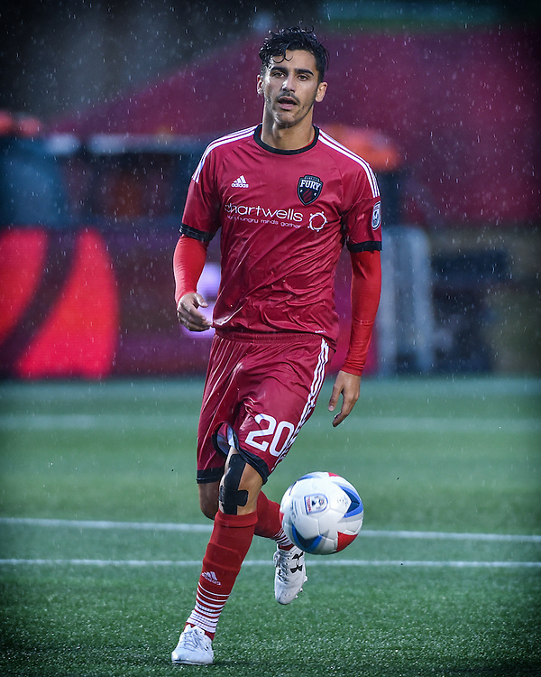 August 13, 2016: Ottawa Fury FC midfielder Mauro Eustaquio (#20) during the NASL match between the Ottawa Fury FC and the Jacksonville Armada at TD Place Stadium in Ottawa, ON. Canada on Aug. 13, 2016.<br /> <br /> PHOTO: Steve Kingsman/Freestyle Photography