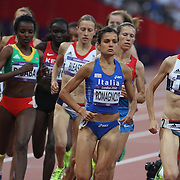 Elena Romagnolo, Italy, (left) and Joanne Pavey, Great Britain, (front) in action during the Women's 5000m Final at the Olympic Stadium, Olympic Park, Stratford during the London 2012 Olympic games. London, UK. 10th August 2012. Photo Tim Clayton