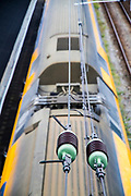 Electric train as seen from above. Photographed in Alkmaar, Netherlands