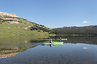 Two kayaks on Beartooth Lake Shoshone National Forest Wyoming