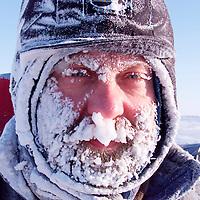 4/3/00 Ice Camp Sirius, Arctic Ocean Sea Ice, Alaska.Greenpeace base member Wojtek Moscal  pictured outside the Greenpeace Ice Camp Sirius base on the Arctic sea ice Alaska. . picture by Steve Morgan