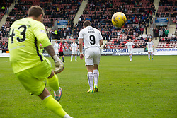 Dunfermline's keeper David Huttonand Falkirk's John Baird. Dunfermline 1 v 2 Falkirk, Scottish Championship game played 22/4/2017 at Dunfermline's home ground, East End Park.