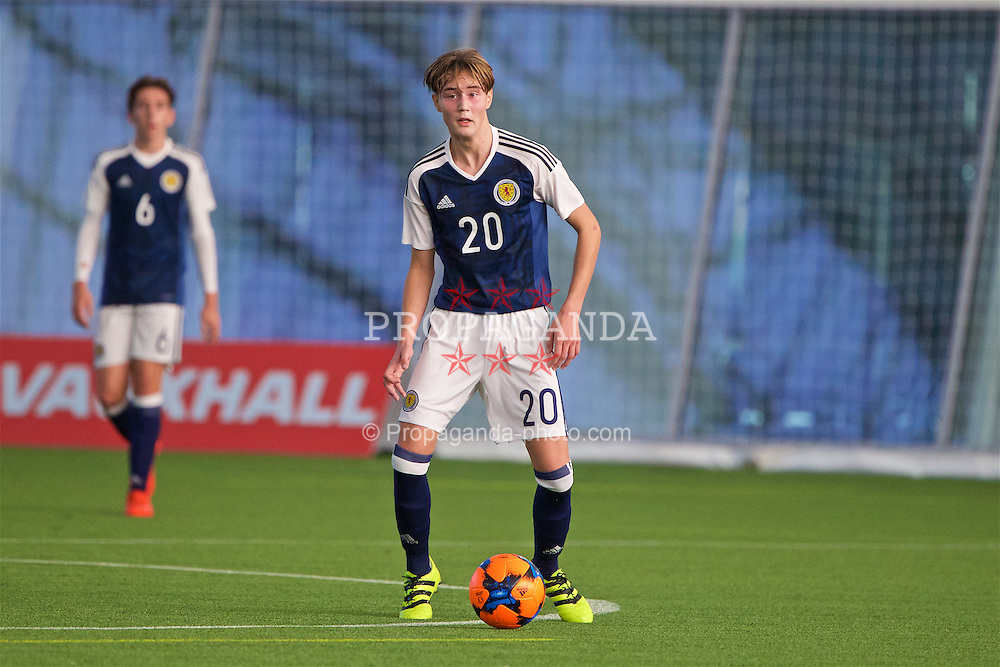 EDINBURGH, SCOTLAND - Sunday, October 30, 2016: Scotland's Harry Cochrane in action against Northern Ireland during the opening match of the Under-16 2016 Victory Shield at ORIAM. (Pic by David Rawcliffe/Propaganda)