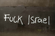 Obscene anti-Israel graffiti on 18th May 2021 in Birmingham, United Kingdom. Demonstrations had taken place in the city centre, following which this graffiti appeared in an alleyway. Protests have been taking place against the recent Israeli attacks on Gaza.