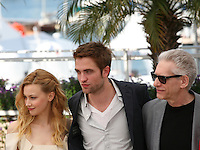 Sarah Gadon, Robert Pattinson, David Cronenberg Cosmopolis photocall at the 65th Cannes Film Festival France. Cosmopolis is directed by David Cronenberg and based on the book by writer Don Dellilo.  Friday 25th May 2012 in Cannes Film Festival, France.