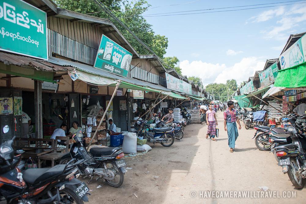NYAUNG-U, Myanmar - A street at Nyaung-U Market, near Bagan, Myanmar (Burma).