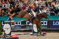TEBBEL Maurice (GER), Don Diarado<br /> Leipzig - Partner Pferd 2020<br /> Championat von Leipzig<br /> Springprfg. mit Stechen, international<br /> Höhe: 1.50 m<br /> 18. Januar 2020<br /> © www.sportfotos-lafrentz.de/Stefan Lafrentz