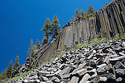 View of rock formations at Devils Postpile National Monument, near Mammoth Lakes, California.