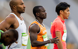 13-08-2016 BRA: Olympic Games day 8, Rio de Janeiro<br /> Solomon Bockarie het niet bolwerken. Ook hij kwam als vijfde over de meet, maar zijn 10,36 was nog matiger.