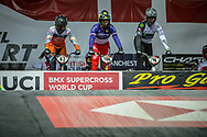 #42 (SCHIPPERS Jay) NED, #100 (MAHIEU Romain) FRA #174 (DEROM Quentin) FRA during practice at the 2019 UCI BMX Supercross World Cup in Manchester, Great Britain