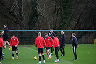 Cardiff city manager Ole Gunnar Solskjaer keeps an eye on his new signing Magnus Wolff Eikrem (in centre) during  Cardiff city team training at the Vale, Hensol, near Cardiff on  Friday 10th Jan 2014.<br /> pic by Andrew Orchard, Andrew Orchard sports photography.