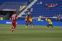 July 7, 2017 - Harrison, New Jersey, United States - Alphonso Davies (12) of Canada National team controls ball during CONCACAF Gold Cup group stage game against French Guiana National team at Red Bulls Arena Canada won 4 - 2 (Credit Image: © Lev Radin/Pacific Press via ZUMA Wire)