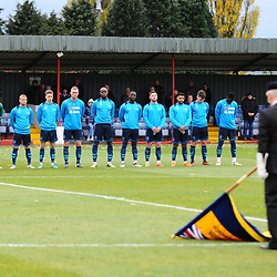TELFORD COPYRIGHT MIKE SHERIDAN 3/11/2018 - AFC Telford players observe a minutes silence during a remembrance ceremony prior to the Vanarama Conference North fixture between Alfreton Town vs AFC Telford United.