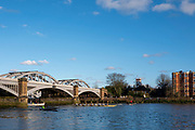 Barnes Greater London. 1st March 2020, Pre Boat Race Fixture,  Cambridge University Boat Club, Blue Boat and Oxford Brookes, passing through, Barnes Rail Bridge,  Championship Course, Putney to Mortlake, River Thames, [Mandatory Credit: Peter SPURRIER/Intersport Images],
