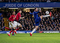 Football - 2018 / 2019 Emirates FA Cup - Fifth Round: Chelsea vs. Manchester United <br /> <br /> Gonzalo Higuain (Chelsea FC)  breaks through the Manchester United defence and attempts to bring the ball under control at Stamford Bridge<br /> <br /> COLORSPORT/DANIEL BEARHAM