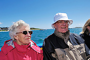 Isles of Scilly, 22 May 2009: Anne and Brian Horrell on the boat from Tresco to St Mary's following their visit to Tresco. They spent their honeymoon on the Island 50 years ago and this was the first time that they had returned. Photo by Peter Horrell / http://peterhorrell.com